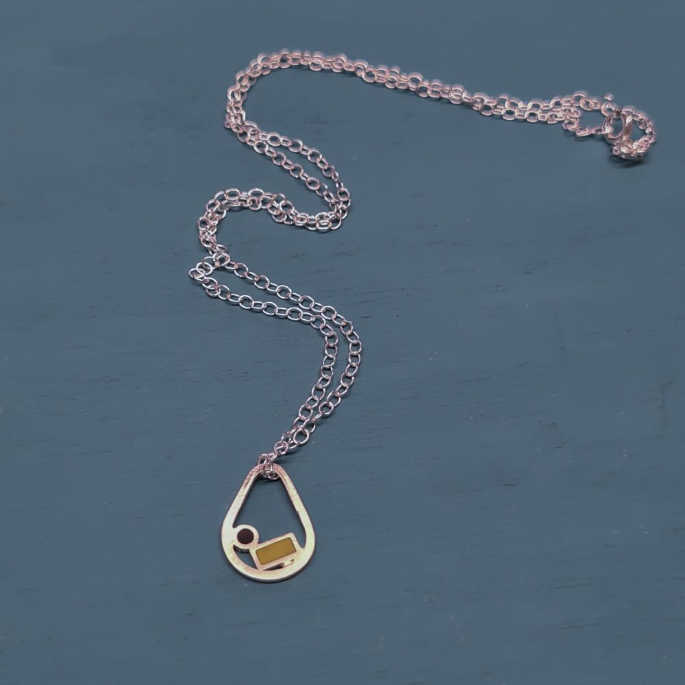 Tiny Recycled Sterling Silver Raindrop Inside Dots Pendant Necklace