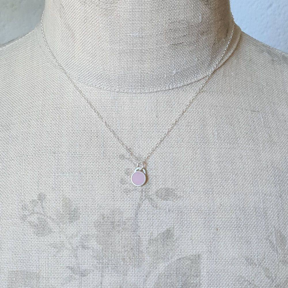 Small Colour Dot Pendant in Pale Pink