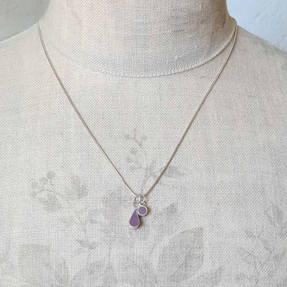 Colour Drop and Dot Pendant Necklace in Purple
