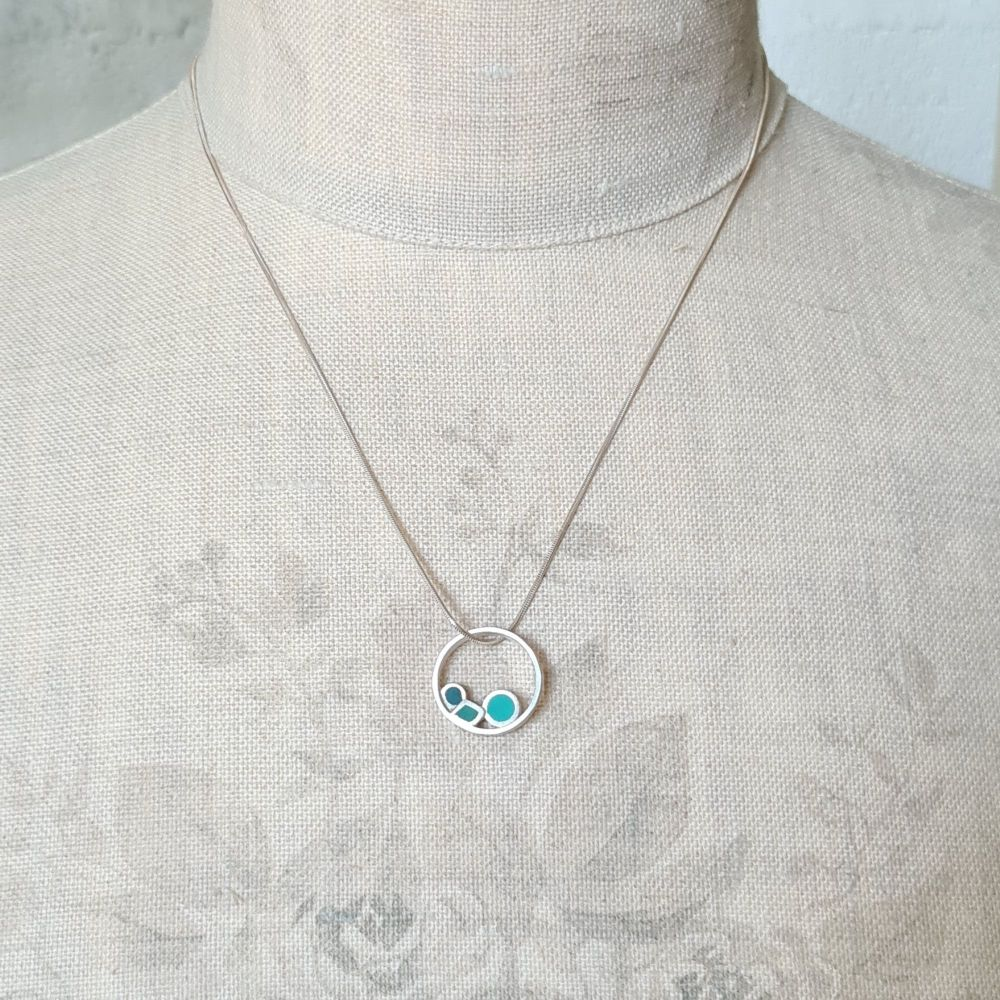 Inside Dot Pendant Necklace in Teals and Turquoise