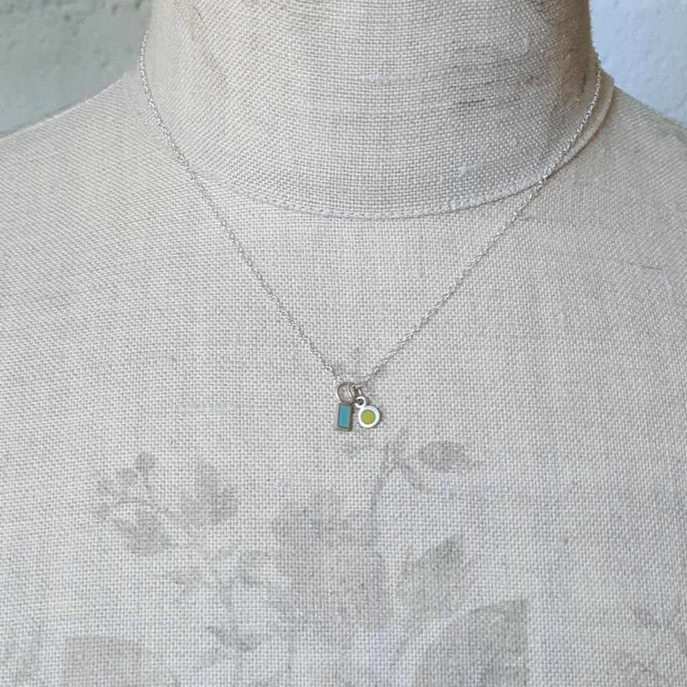 Teeny Tiny Duo Pendant with Turquoise Rectangle and Sulphur Yellow Circle