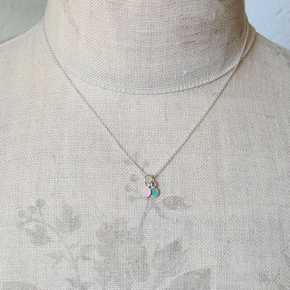 Teeny Tiny Duo Pendant with Pale Pink and Turquoise Circles