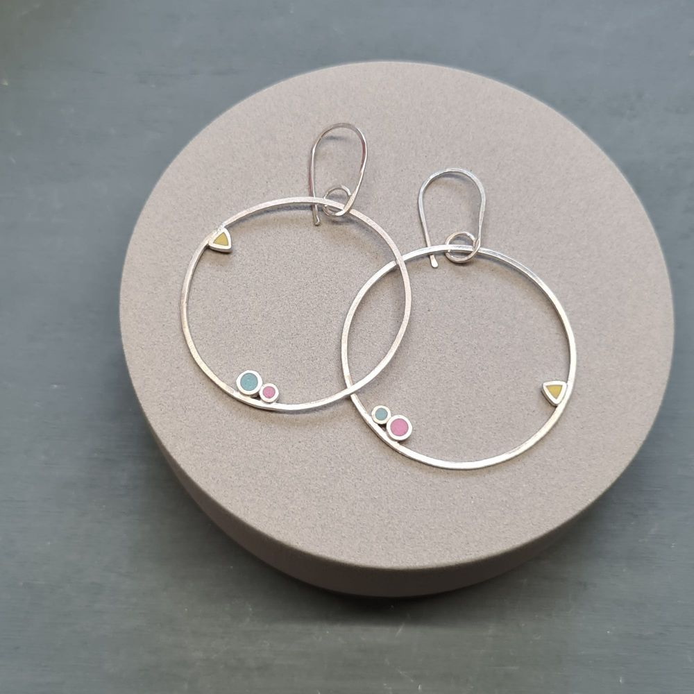 Large Inside Dot Dangly Hoop Earrings with Circles and Triangles in Summer