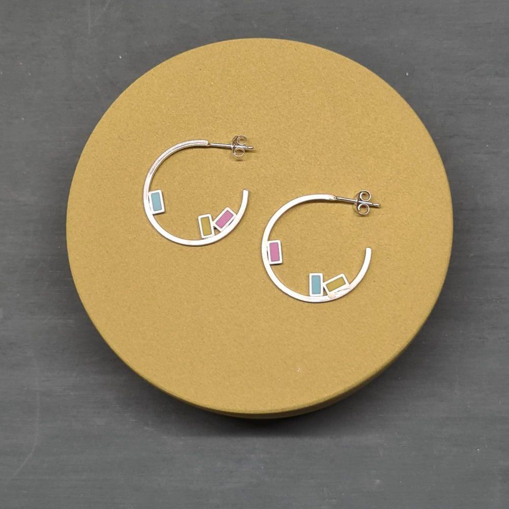 Small Rigid Inside Dot Hoop Earrings with Rectangles in Summer Colours