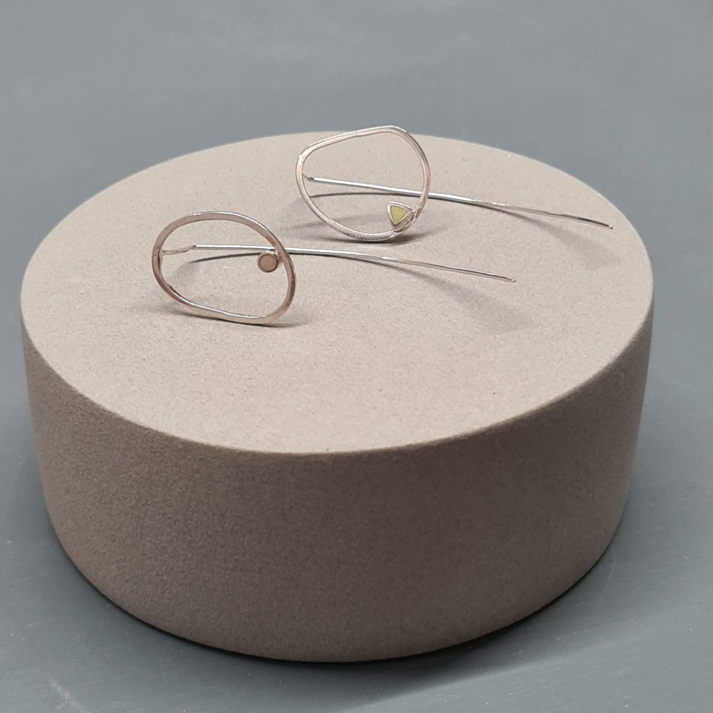 Inside Dot Mismatched Stud Earrings with Long Wire Backs - Pale Yellow Circ