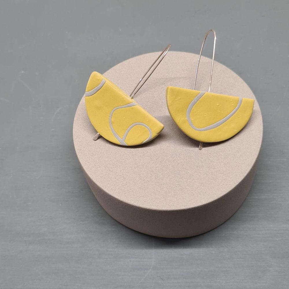 Semi Circle Long Earrings in Mustard and Grey