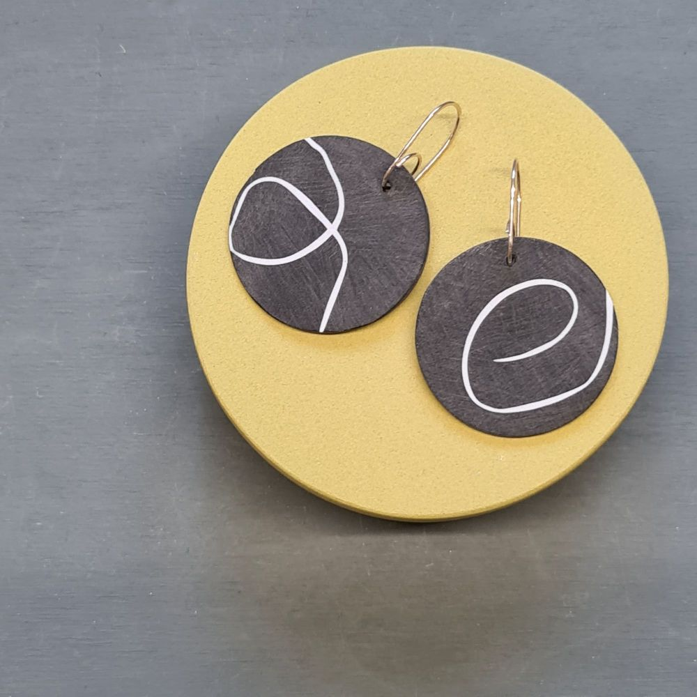 Black and White Scratched Circle Abstract Earrings