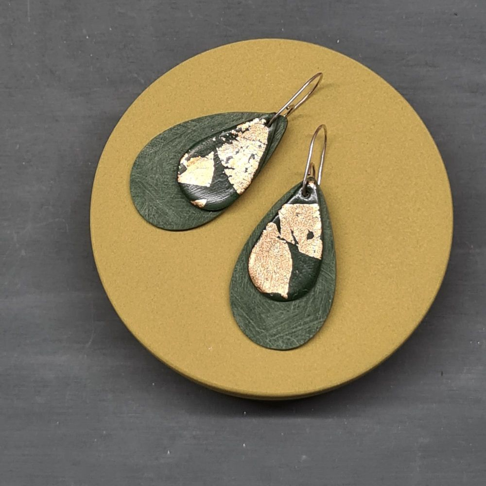 Olive Green Teardrop Earrings with 24ct gold leaf