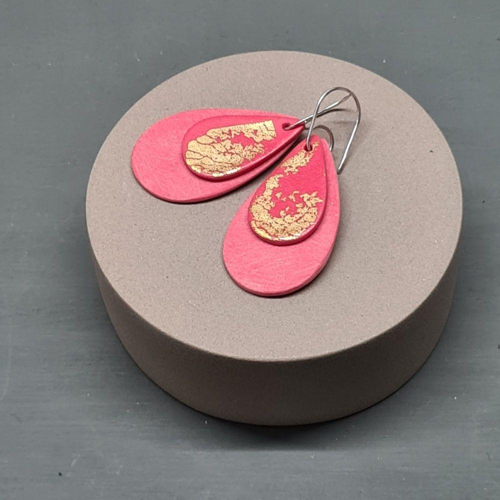 Metallics Coral Teardrop Earrings with 24ct gold leaf
