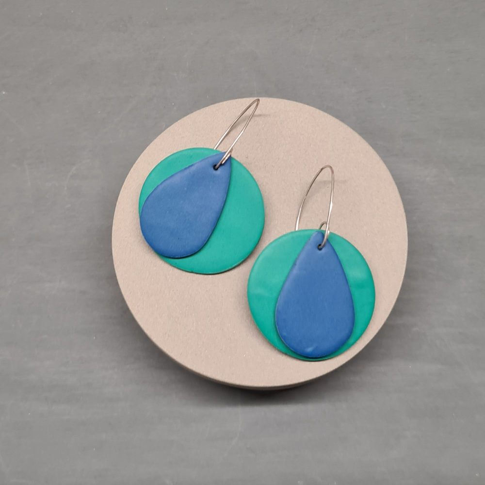 Giant Circle Earrings in Jade and Blue