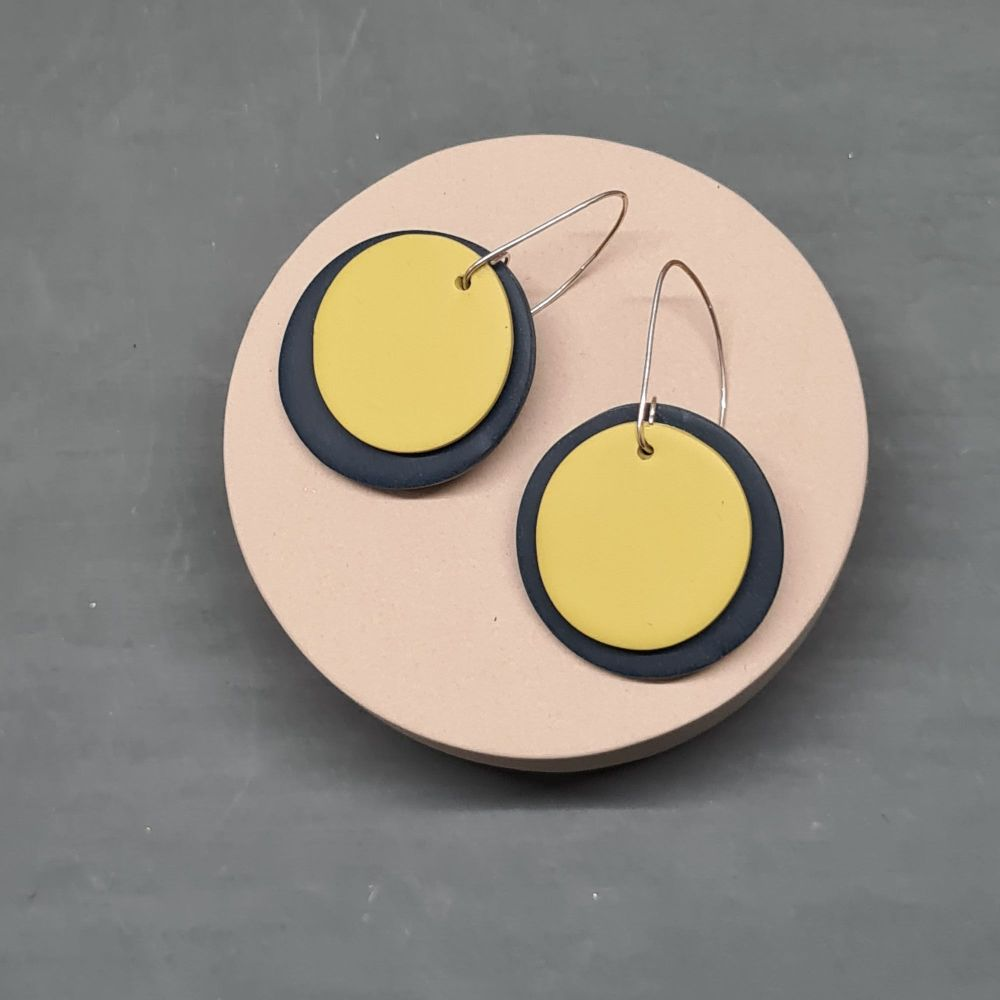Giant Circle Earrings in Navy Blue and Pale Lime