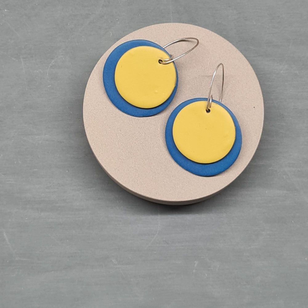 Giant Circle Earrings in Teal Blue and Mustard