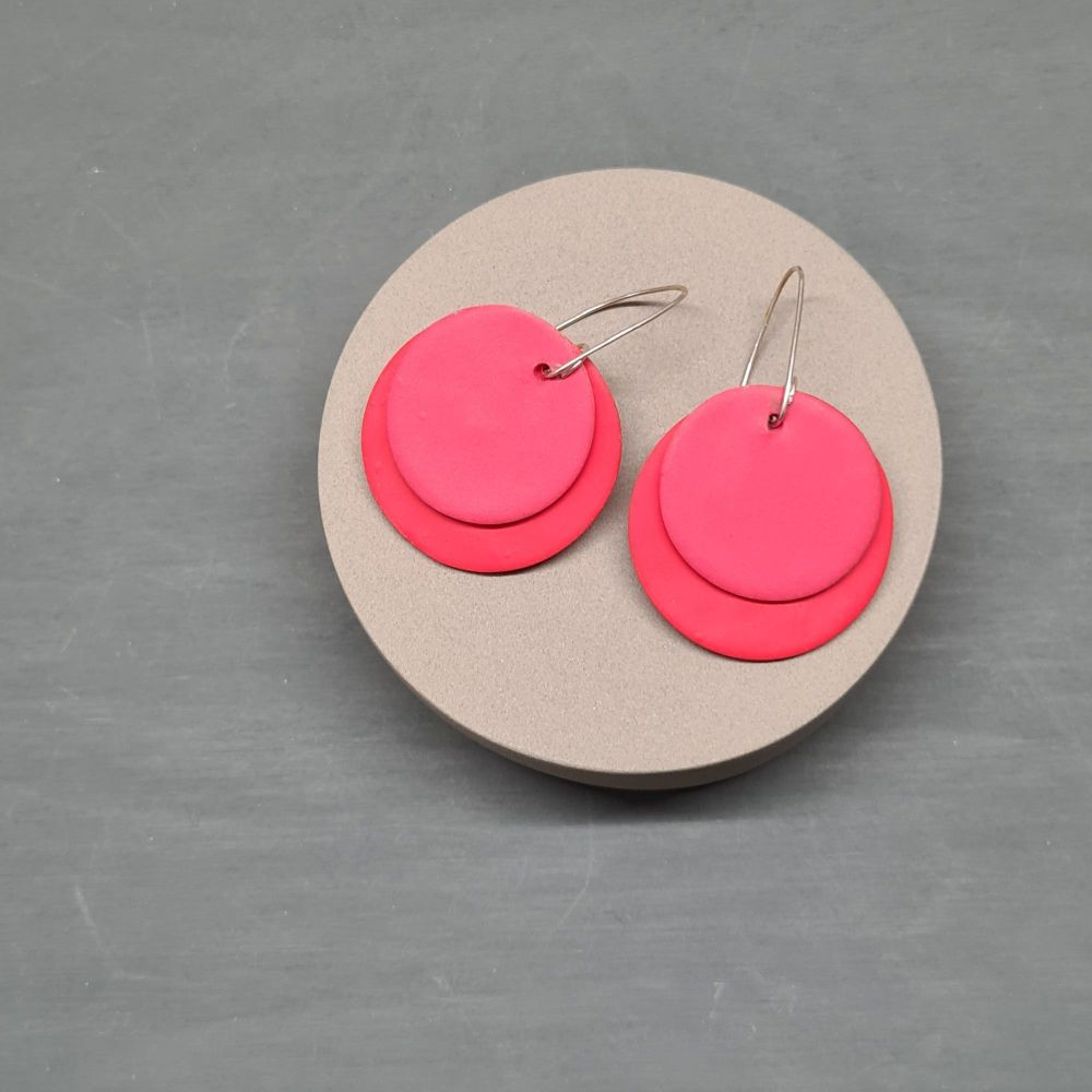 Giant Circle Earrings in Tomato Red and Coral