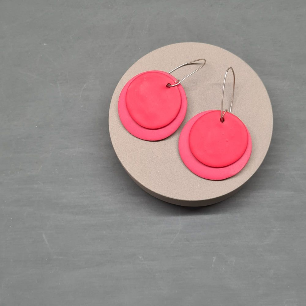 Giant Circle Earrings in Coral and Tomato Red