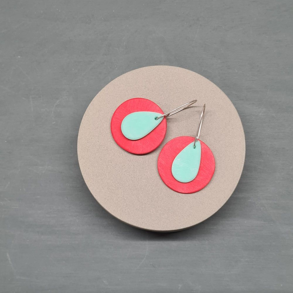 Giant Scratched Circle Earrings in Tomato Red with an Aqua Teardrop