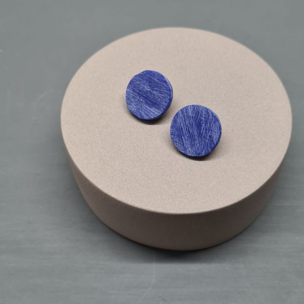 Scratched Polymer Clay Circle Studs - Cobalt Blue