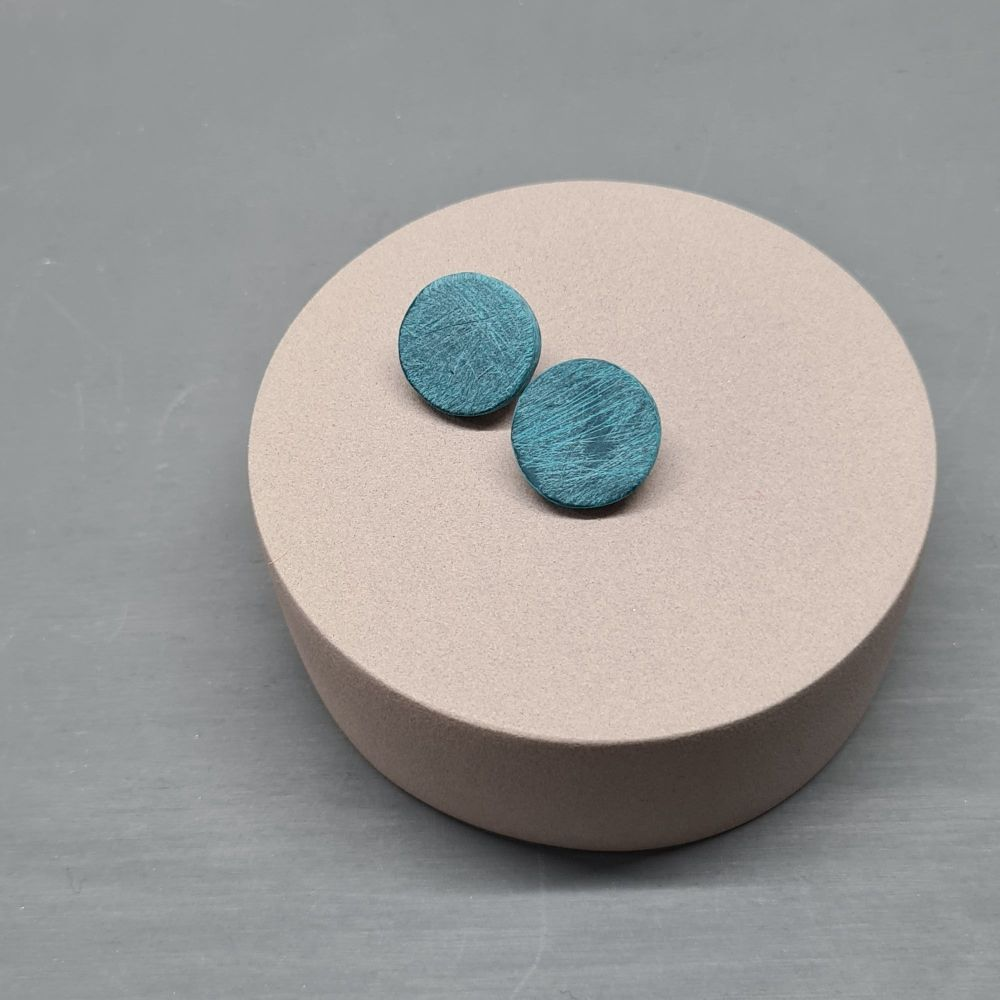 Scratched Polymer Clay Circle Studs - Teal Green