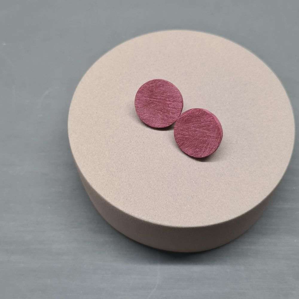 Scratched Polymer Clay Circle Studs - Dark Red