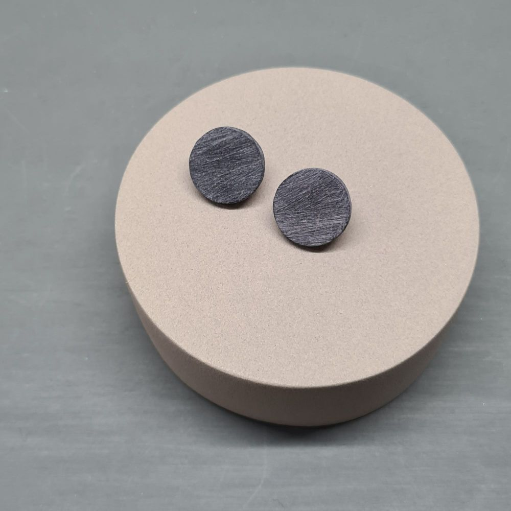 Scratched Polymer Clay Circle Studs - Black