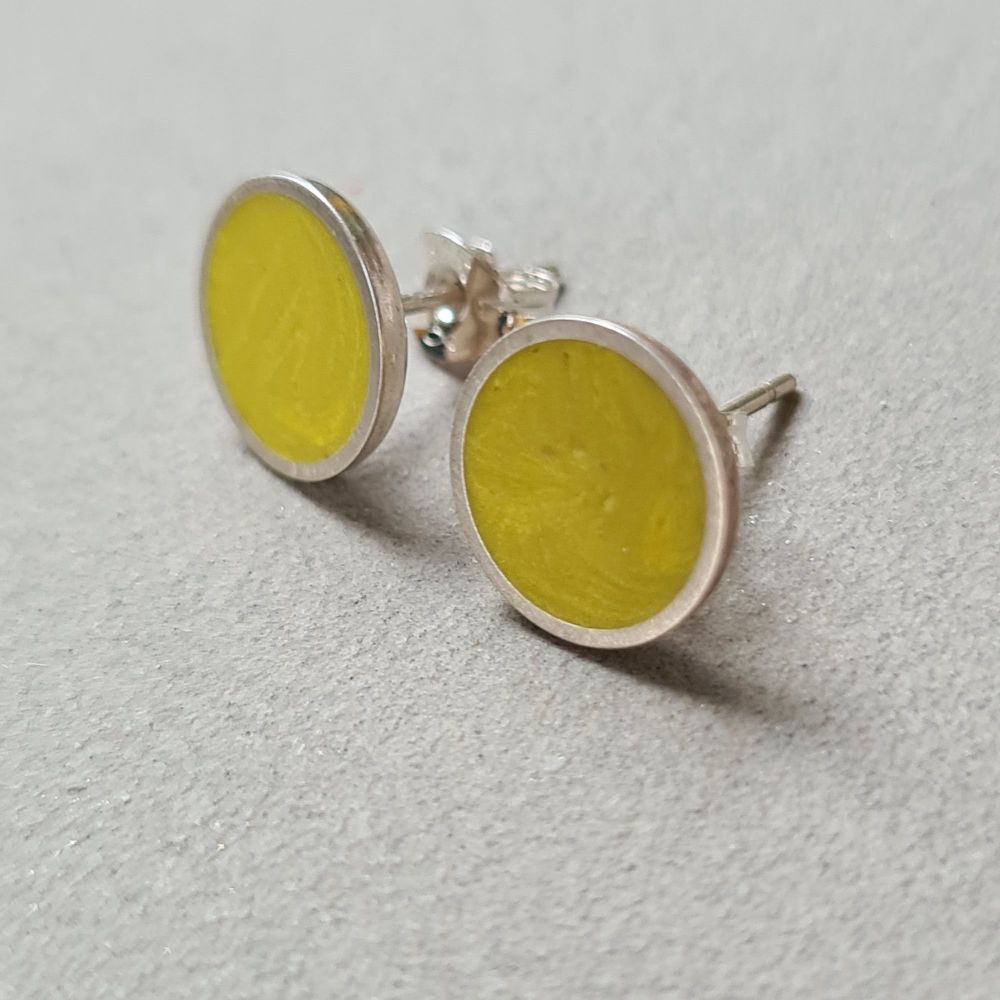 Large Colour Dot Studs - Sulphur Yellow