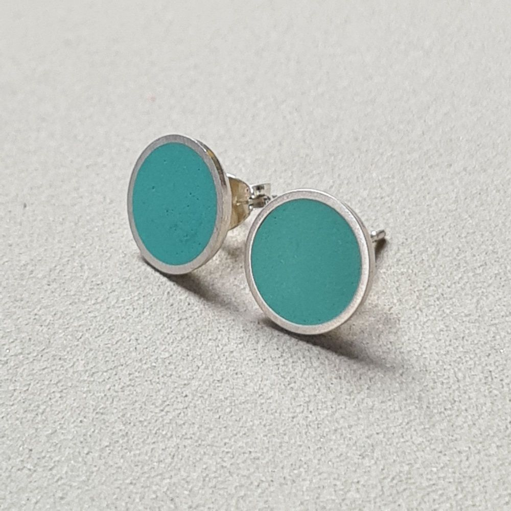 Large Colour Dot Studs -  turquoise green