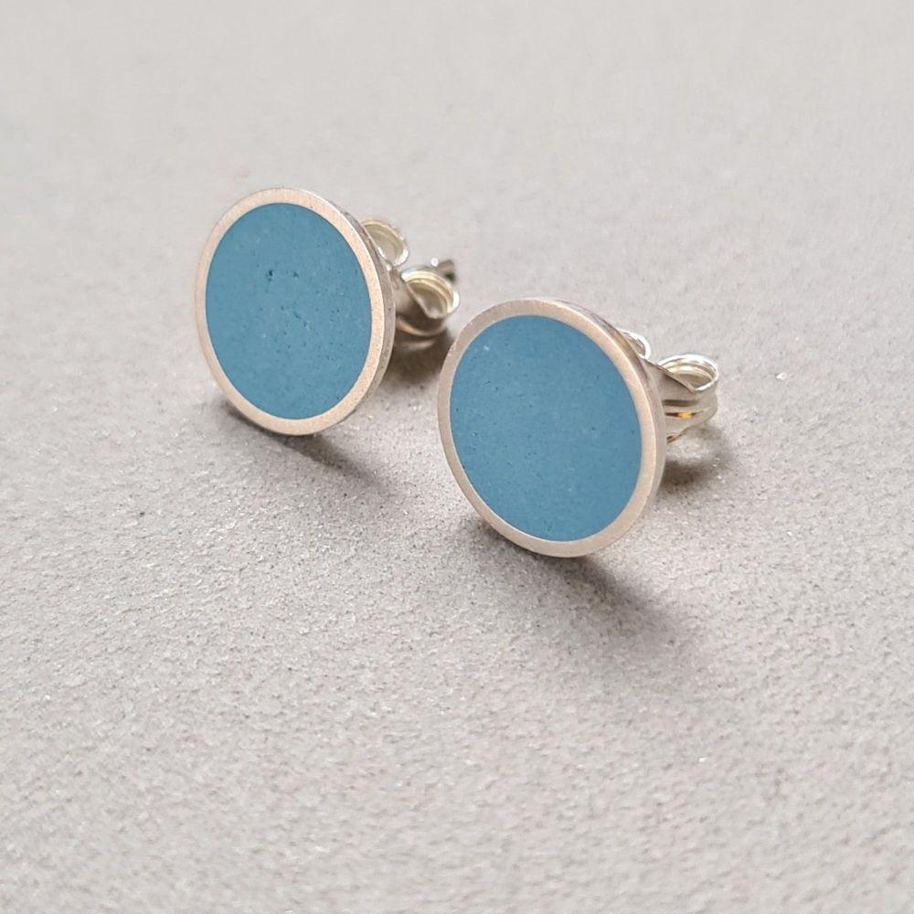 Large Colour Dot Studs -  Mid Blue