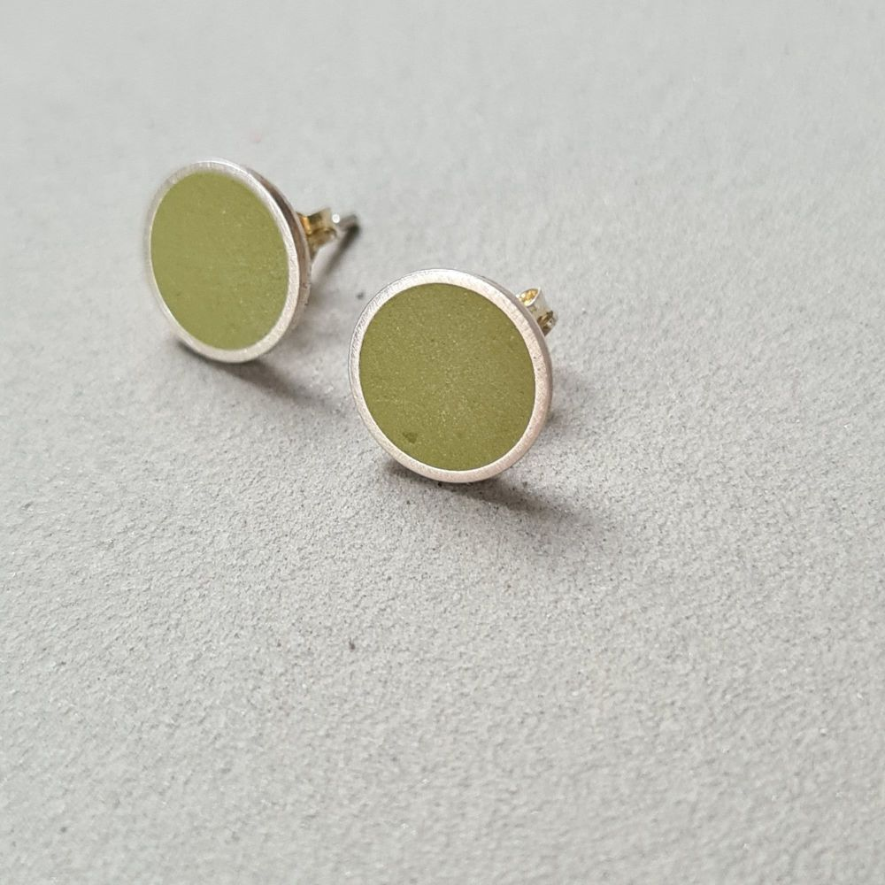 Large Colour Dot Studs -  Golden Olive Green