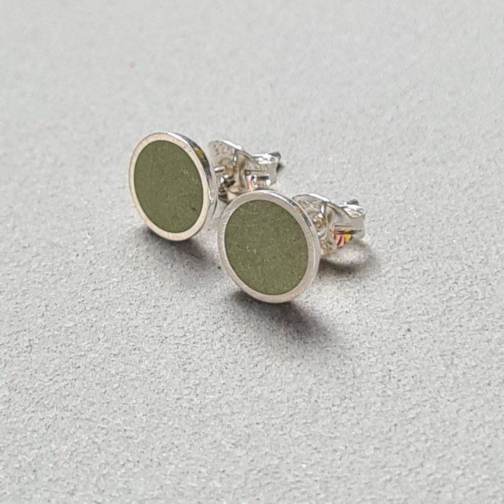 Medium Colour Dot Studs -  Olive Green