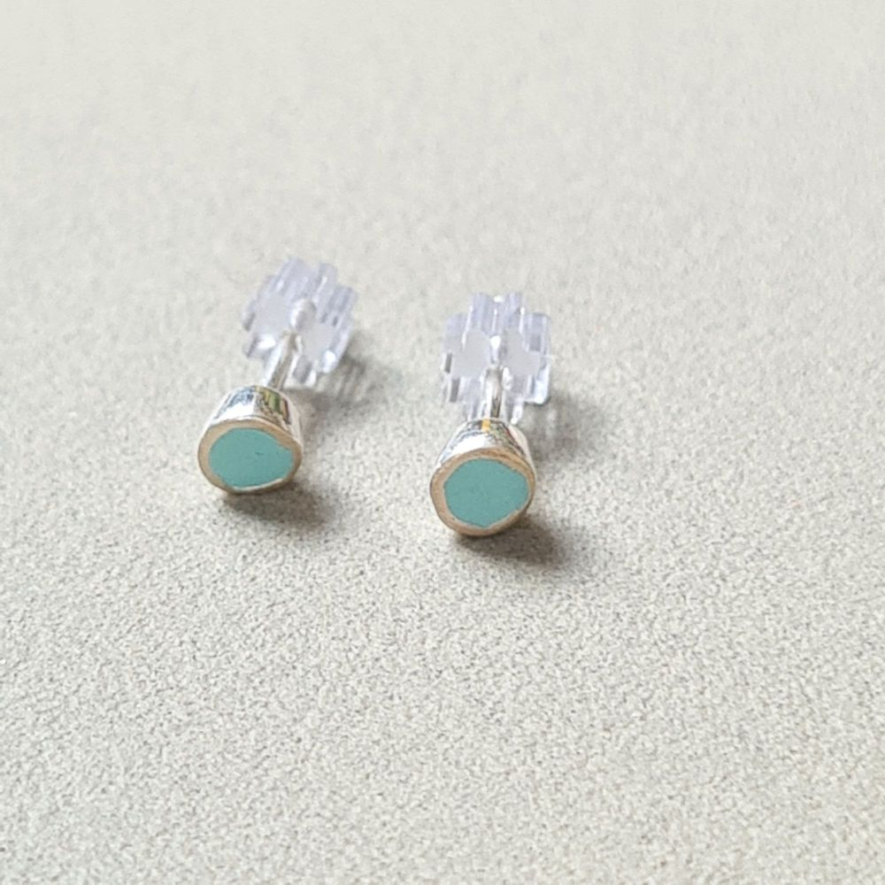Tiny Colour Dot Studs -  Light Turquoise