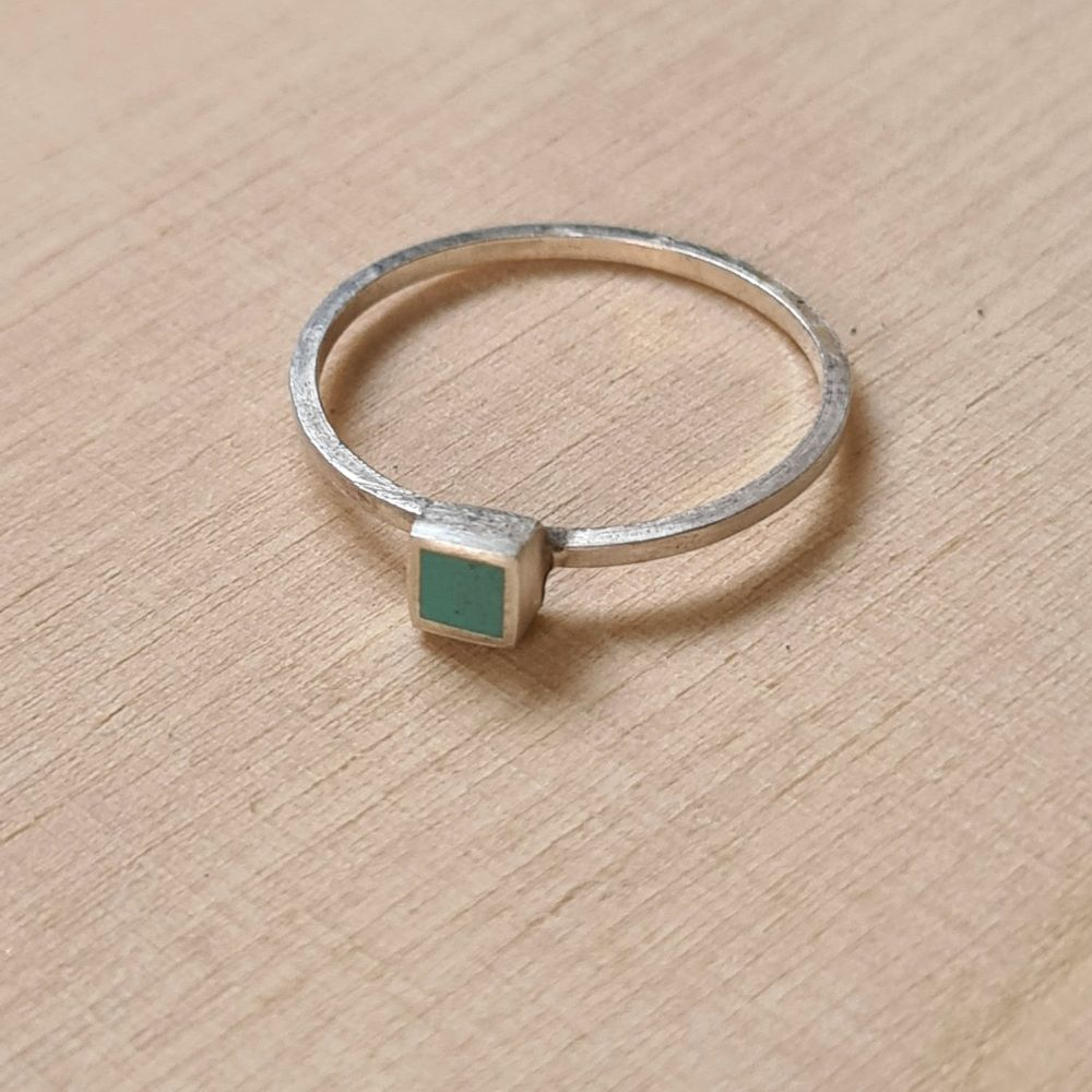 Colour Dot Stacking Ring Turquoise Square Size N 1/2