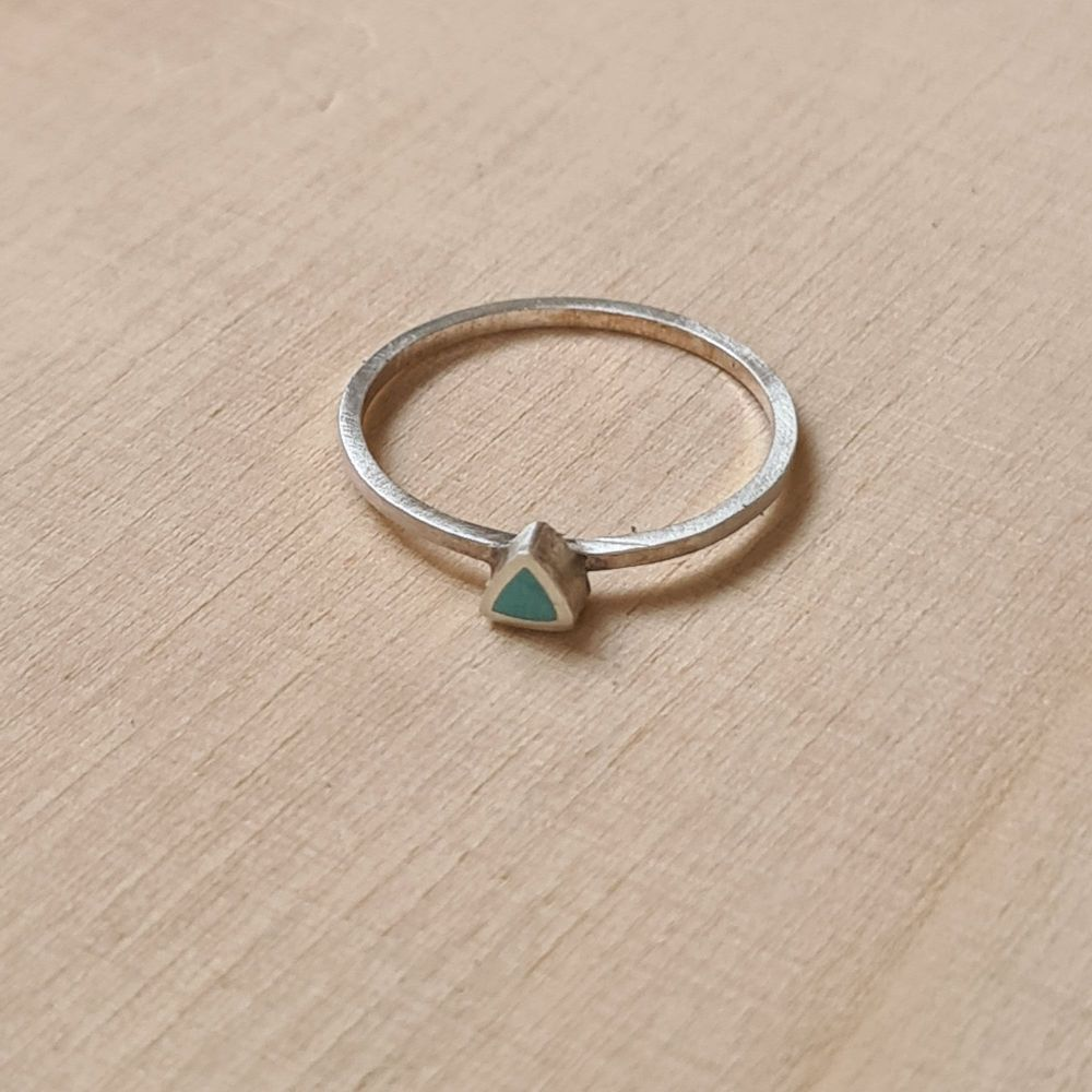 Colour Dot Stacking Ring Turquoise Triangle Size N