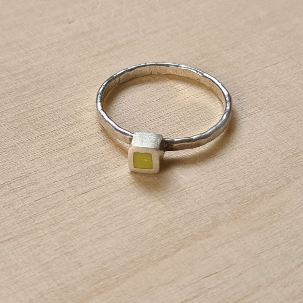 Colour Dot Stacking Ring Sulphur Yellow Square Size M