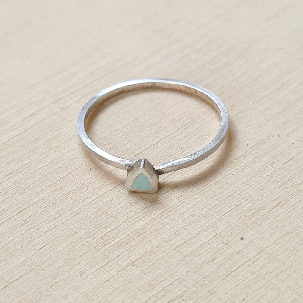 Colour Dot Stacking Ring Aqua Triangle Size O 1/2