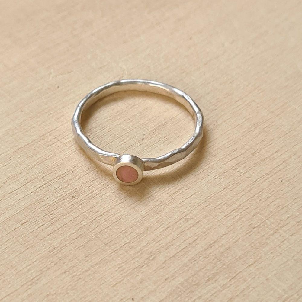Colour Dot Stacking Ring Peach Pink Circle Size J