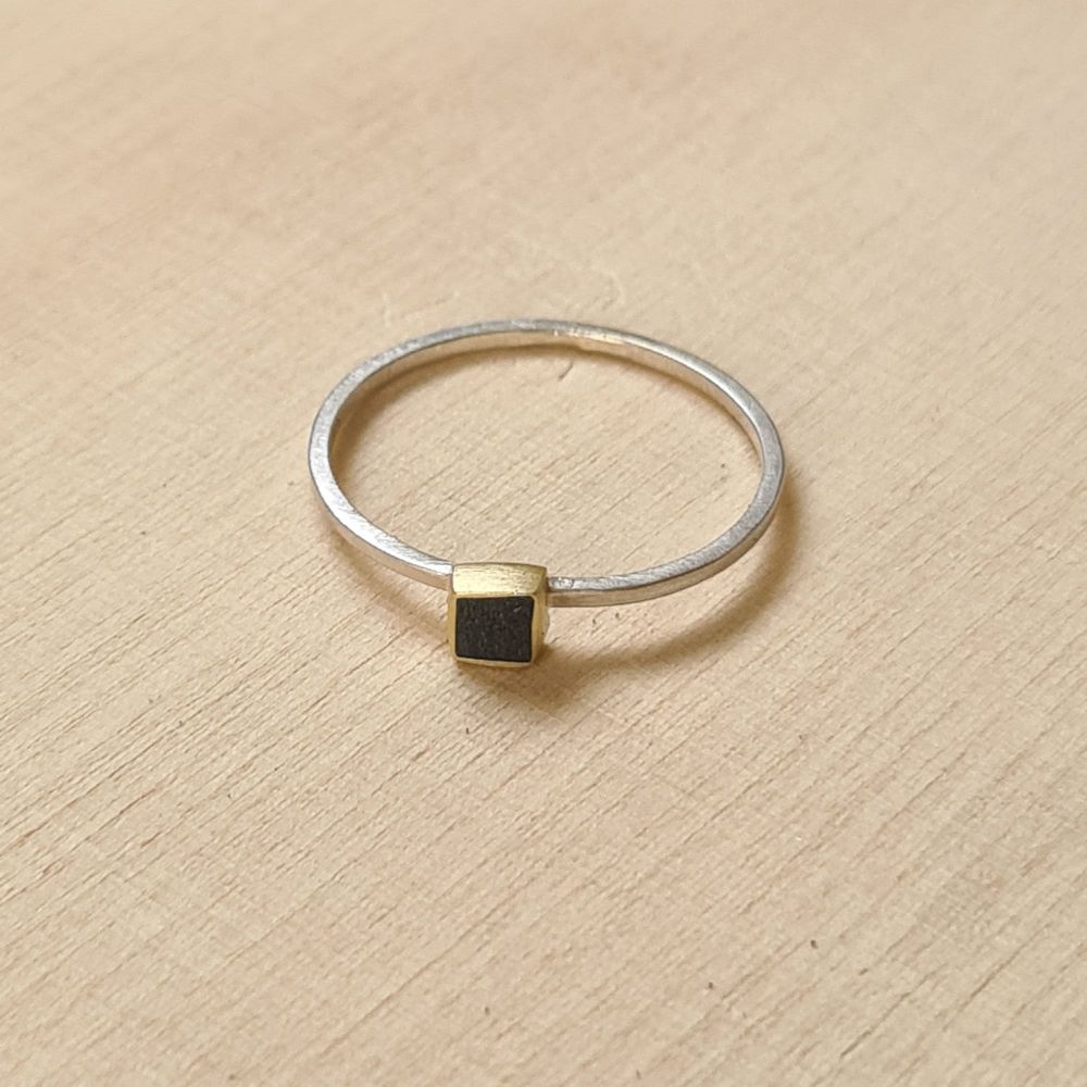 Colour Dot Stacking Ring Brass Square Black Size Q