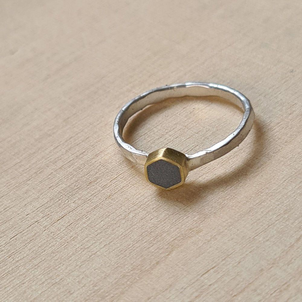 Colour Dot Stacking Ring Brass Hexagon Dark Grey Size J