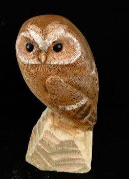 Painted miniature tawny owl