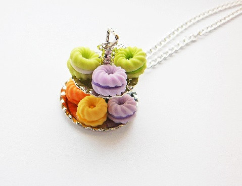 Colourful Macaroon Cake 2 Tier Necklace
