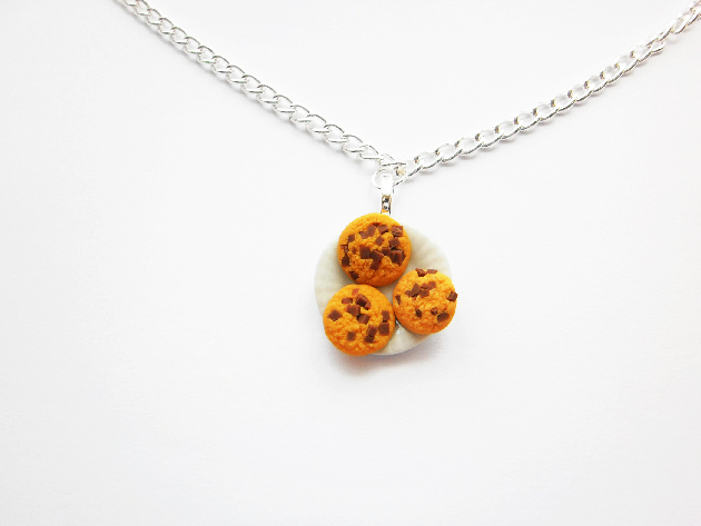 Chocolate Chip Cookies On A Plate Necklace
