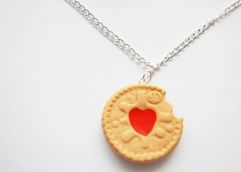 Half Eaten Jammie Dodger Biscuit Necklace