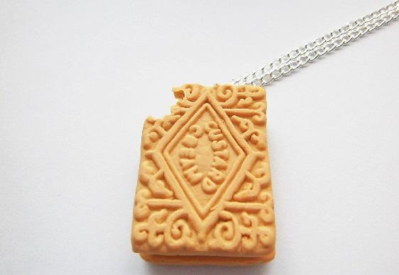 Half Eaten Custard Cream Necklace