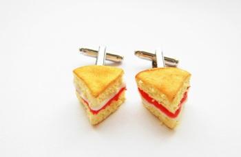 Victoria Sponge Cake Slice Cufflinks