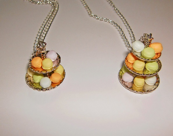 Macaroon Cakes On A Stand 2 Tier Necklace