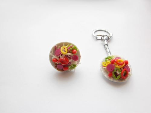 Mixed Salad Ring And Keyring Set