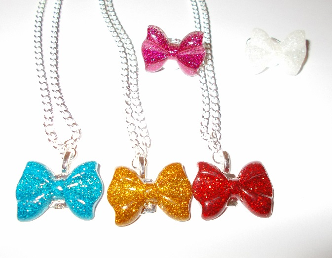 Glitter Butterfly Bow Necklace Or Ring