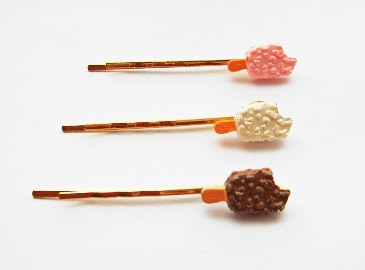 Mini Ice Cream Lollipop Dessert Gold Plated Hair Grip