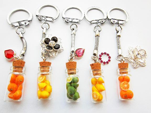 Anne's Designer Swaroski Crystal Fruits In A Bottle Keyring