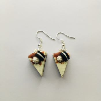 Chocolate Biscuit Cake Slice Earrings