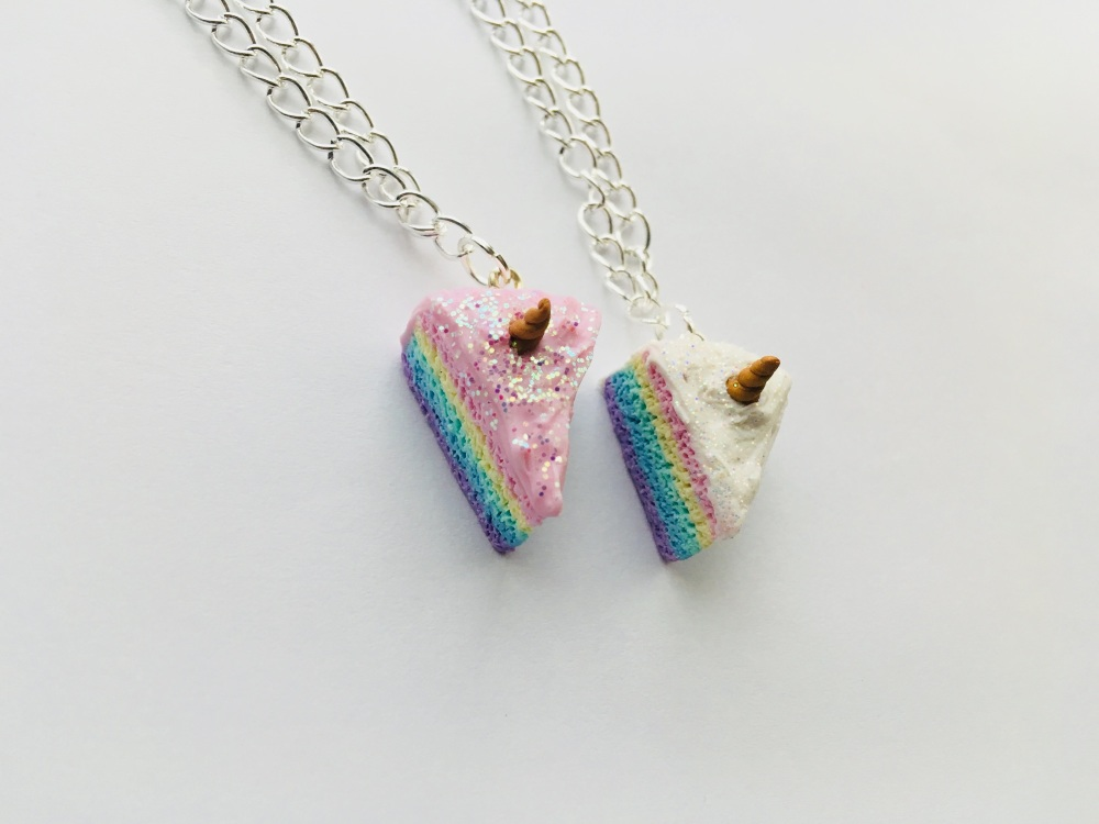 Rainbow Unicorn Cake Slice Necklace