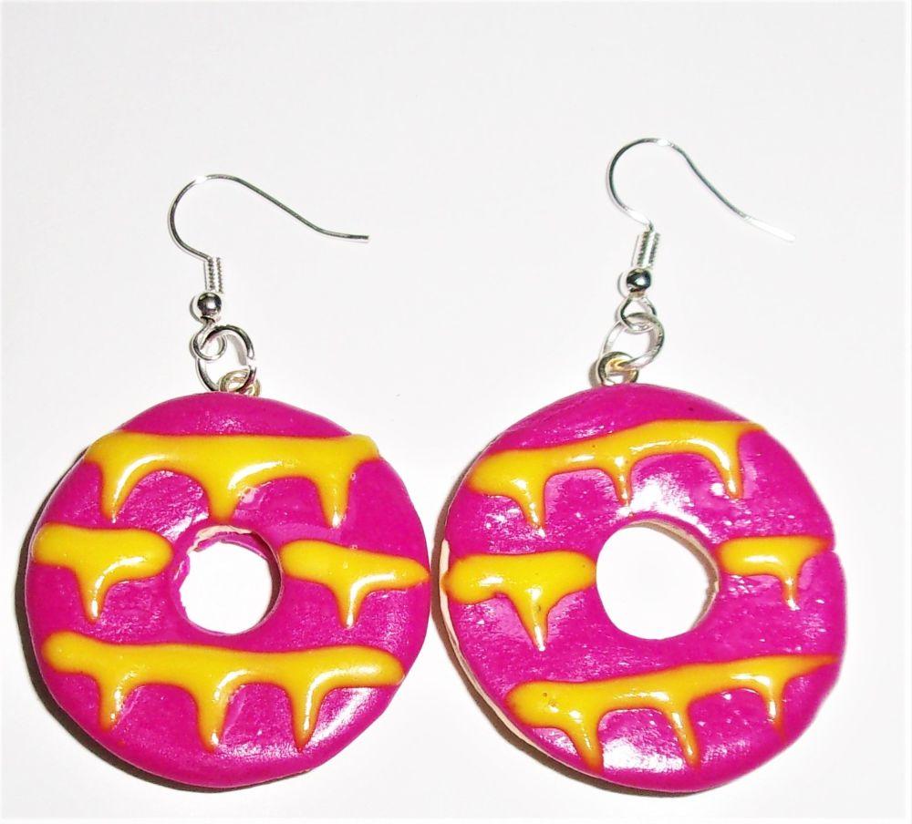 Dark Pink Ring Biscuit Earrings